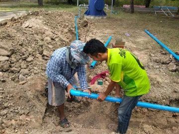 โรงเรียนบ้านนาใหม่เดินระบบท่อน้ำประปาภายในโรงเรียน