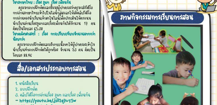 โรงเรียนวัดบ้านทวน รายงานผลการจัดการเรียนการสอน (ระหว่างวันที่ 2 – 31 ส.ค.64)